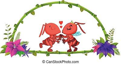 蟻, フレーム, 恋人, 竹