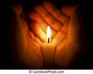蠟燭, 在之間, 兩只手