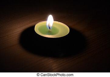 蠟燭, 在暗處, 上, 木制, 背景