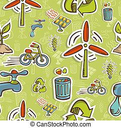 行きなさい, パターン, セット, 緑, アイコン