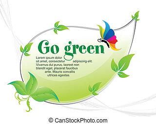 行きなさい, 抽象的, 緑の背景
