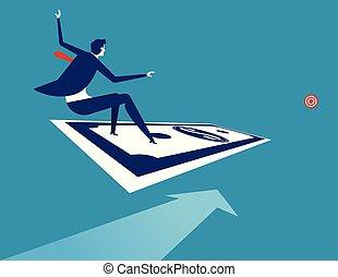 行きなさい, 概念, お金, ベクトル, ビジネス, 地位, ビジネスマン, illustration., target.