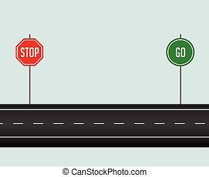 行きなさい, 止まれ, 小道, 道 印