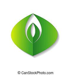 行きなさい, 緑, エコロジー, ロゴ, イラスト, ベクトル