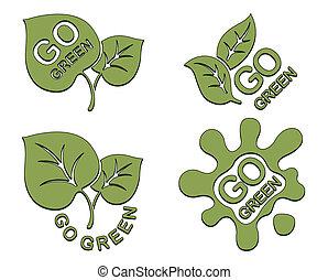 行きなさい, 緑, セット, ロゴ