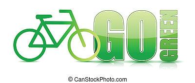 行きなさい, 自転車, 緑, イラスト, 印