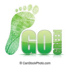 行きなさい, 足跡, 印, 緑, illustratio