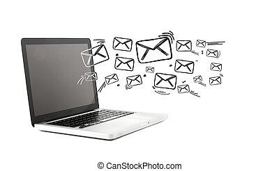 行く, コンピュータ, から, 電子メール, アイコン