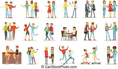 行く, セット, themed, 友人, 時間, 話し, よい, 一緒に, イラスト, 幸せ, 友情, 持つこと, 最も良く, から