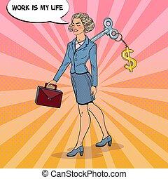 行く, 女, 芸術, 彼女, ビジネス, 仕事, ドル, ポンとはじけなさい, 印, back., ベクトル, イラスト, キー, 機械