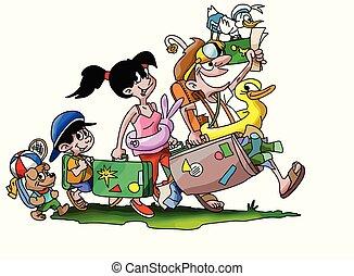行く, 家族休暇, イラスト, 犬, ∥(彼・それ)ら∥, ベクトル, 漫画