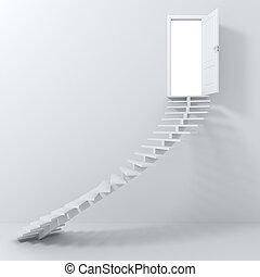 行く, 階段, 3d, up!