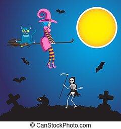 行く, cemetery., スケルトン, イメージ, 飛行, ハロウィーン, 若い, イラスト, ねこ, 大鎌, ベクトル, 魔女, によって, ほうきの柄, カボチャ