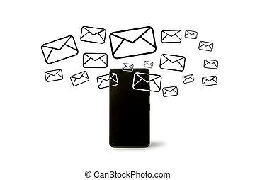 行く, smartphone, から, 電子メール, アイコン