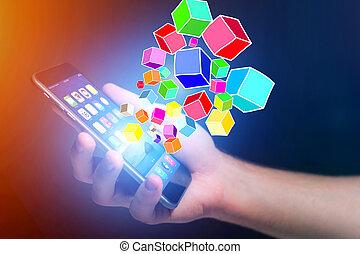 行く, smartphone, 概念, データ, -, colorfull, 立方体, 技術, から