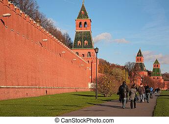 行人, 在, 城堡牆, 在, 莫斯科