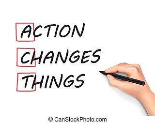 行動, もの, 書かれた, 変化する, 手