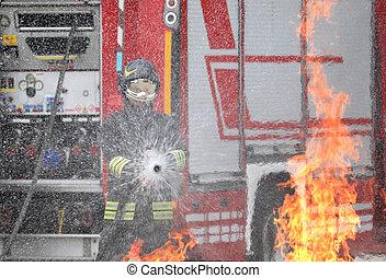 行動, ヘルメット, 消防士, ユニフォーム