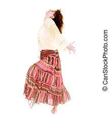 行動, 上に, 白, 女の子, ダンス