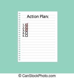 行動, 書かれた, ノート, らせん状に動きなさい, 計画