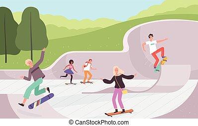 行動, 極点, 活動, 屋外, 特徴, 背景, ベクトル, skatepark., 都市, 公園, ...