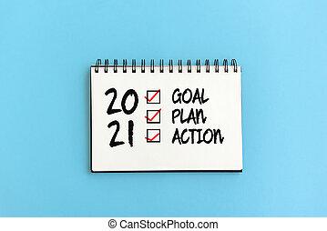行動, 2021, チェックリスト, テキスト, パッド, メモ, ゴール, 計画, 青い背景