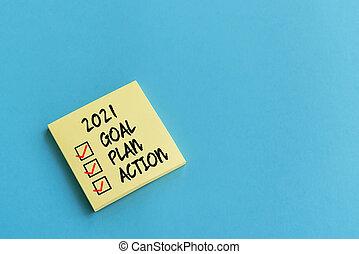 行動, 2021, 接着剤, チェックリスト, テキスト, メモ, ゴール, 計画, 青い背景