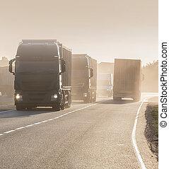 行動, road., 卡車