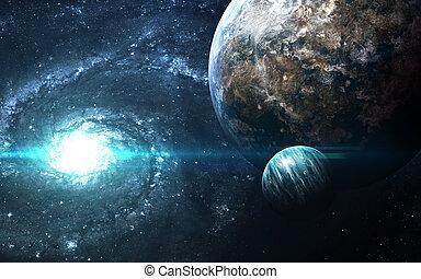 行星, 在上方, the, nebulae, 在, space., 這, 圖像, 元素, 提供, 所作, nasa