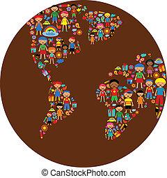 行星, 在中, 孩子, 色彩丰富, 矢量, 描述