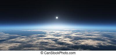 行星, 日出, 从, 空间