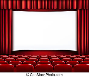 行, 劇院, 電影院, 座位, scre, 空白, 前面, 白色, 或者, 紅色