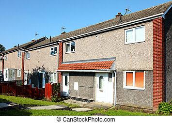 行, ......的, 新的房子, 上, a, 住房, development.uk