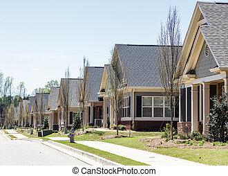行, ......的, 新, 公寓租房, townhouses