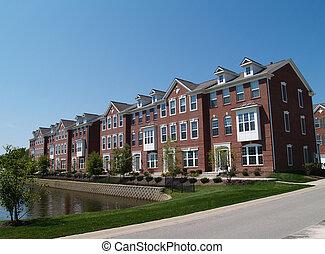 行, ......的, 磚, 公寓租房, 由于, 海灣窗子