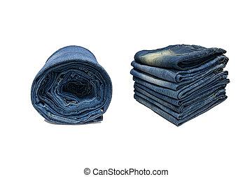 行, ......的, 藍色, jeans.