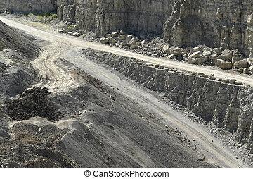 街道, 在, a, 石頭, 坑
