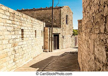 街道, 在, dora, village., limassol, 地區, 塞浦路斯