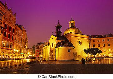 街, wojciech, 教堂, 夜間