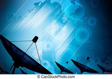 衛星 皿, 伝達, データ, 背景, デジタル, 青