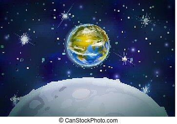 衛星, 背景, 空間, 星座, 月亮, 行星, 明亮, 星, 地球, 看法