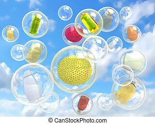 衛生學, 飛行, 在, 肥皂 泡影, 概念, ......的, 純淨, 以及, 利己