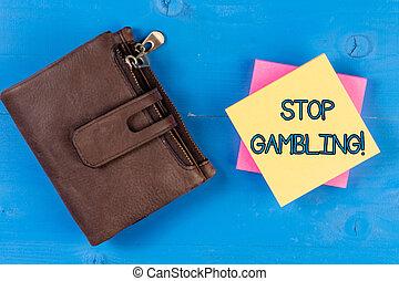 衝動, 写真, テキスト, 提示, 一時停止標識, 有害である, continuously, gambling., despite, 概念, costs., 賭け