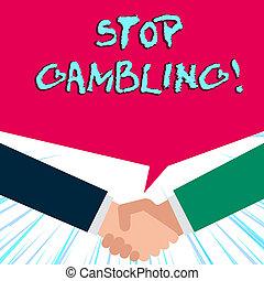 衝動, 概念, テキスト, costs., 止まれ, 執筆, 有害である, 意味, gambling., despite, continuously, 手書き, 賭け