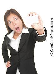 衝撃を与えられた, アジアのビジネス, カード, 女, 隔離された