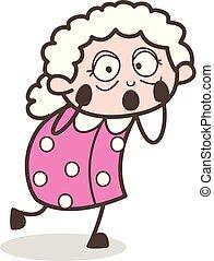 衝撃を与えられた, ベクトル, イラスト, おばあさん, 表現, 漫画