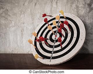 衝突, ターゲット, 成功, 概念, ダート盤, さっと動く