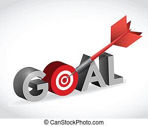 衝突, ターゲット, goal., イラスト, デザイン, あなたの