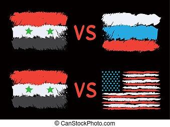 衝突, 在之間, 敘利亞, russia, 以及, 美國