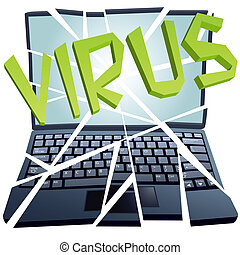 衝突, 壊れる, 小片, ウイルス, コンピュータ保全, ラップトップ